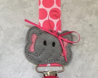 Pacifier Clip - Little Elephant Gray and Bright Pink - Baby Girl Gift - Paci Holder - Binky Saver