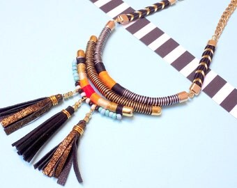 Fringe necklace Statement necklace Leather copper tassel necklace Aztec style necklace Bohemian necklace Boho tassel necklace