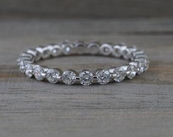 14k White Gold Thin Diamond Eternity Double Prong Invisible Ring Single Prong Wedding Band