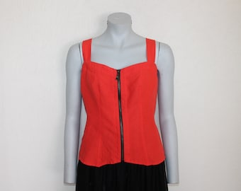 Linen Top Coral Red Top Orange Linen Top Sleeveless  Blouse Summer Shirt  Plus Size Extra Large
