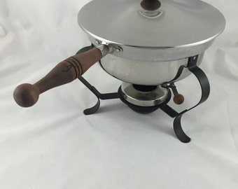 Vintage Stainless Chafing Dish With Burner, Rod Iron and Teak