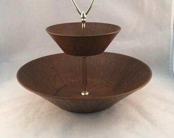 Vintage Faux Wood 2 Tier Serving Bowl, Snack Set