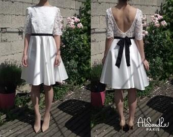 Low back short wedding dress/ Retro wedding dress with sleeves/ Long sleeves short lace wedding dress/ Robe de mariée courte Alesandra Paris