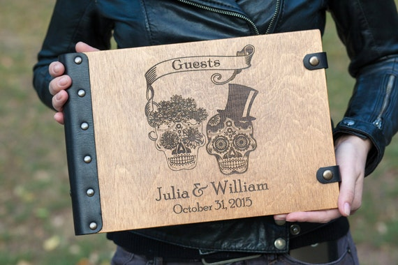 Skull, Skeleton, Halloween, Wedding Guest Book, Custom Guest Book, Wedding, Autumn Wedding, Guest Book Ideas, Halloween Wedding, Guest Book
