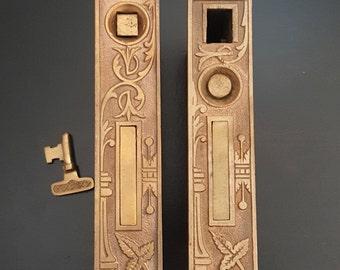 Antique Broken Leaf Pocket Door Locks 530631