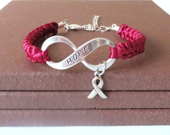 Burgundy Awareness Ribbon HOPE Multiple Myeloma Oral Cancer Brain Aneurysm Migraine Amyloidosis Disabled Adults Charm Bracelet