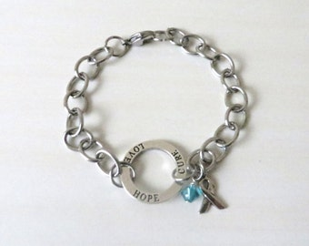Teal Hope Love Cure Awareness Bracelet Ovarian Cancer Tourettes Syndrome Ocd Anxiety Awareness Ptsd YOU Choose Bracelet Length