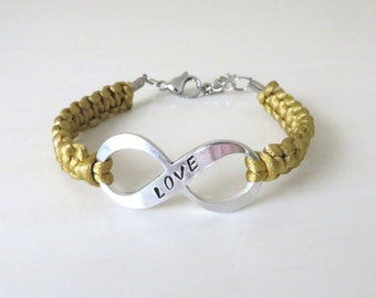 Childhood Pediatric Cancer LOVE Gold Hand Stamped Awareness Bracelet YOUR Choice of Charm(s)