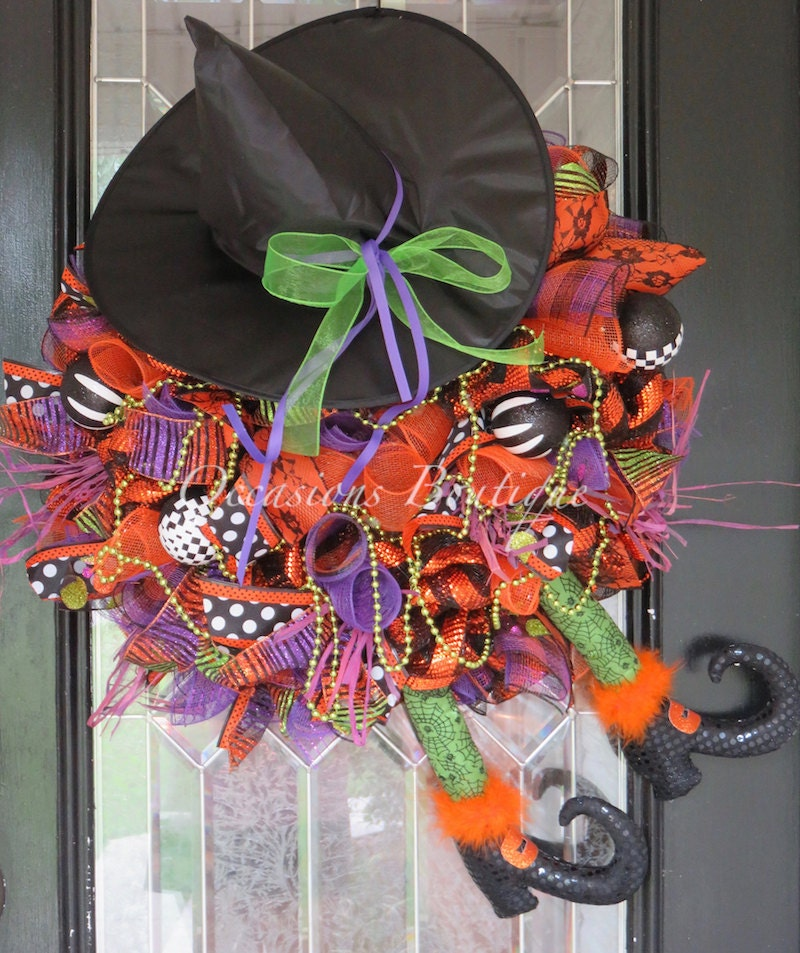 Wicked Witch Halloween Wreath Halloween Decoration Front
