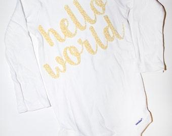 hello world gender neutral onesie