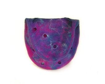 Felted bag felt bag felt handbag wool bag puple violet blue winter bag boho OOAK