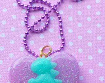 Kawaii Dinosaur Pendant / Cute Dinosaur Jewelry / Dinosaur Necklace / Pastel Goth Accessories / TRex Jewelry / Pretty Pastel Spring Jewelry