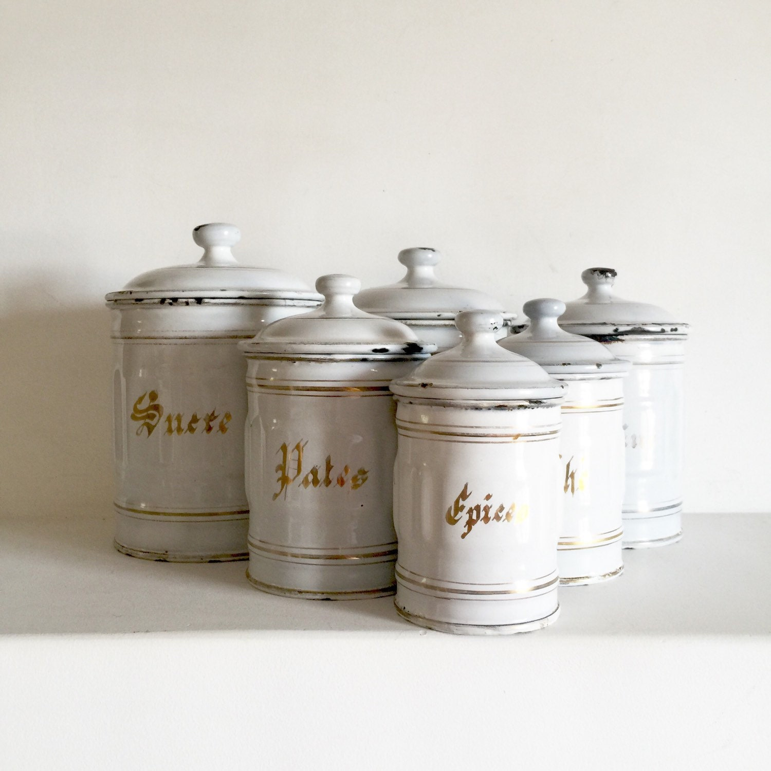 Vintage French Kitchen: French Antique Enamel Canisters French Kitchen Canisters
