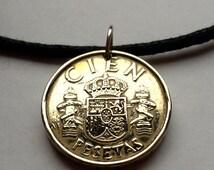 1984 Spain España 100 pesetas coin pendant Spanish crown necklace escudo castillo castle LION leon escutcheon Pillars of Hercules No.000376