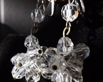 Vintage Clear Austrian Crystal Dangle Earrings Screw Back 1930's