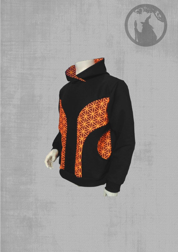 Men Hoodie 2 Pockets With Vinyl Print Pattern Flower By