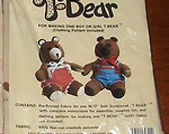 """Teddy Bear Pre Printed Fabric for 16"""" Soft Sculptured Bear Clothing Pattern"""