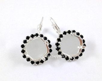 Jet Rhinestone Silver Earrings Settings Base 1 Pair Fits 12mm Swarovski Crystal 4470