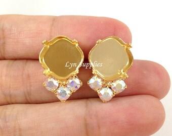 Cushion Cut Gold Plated Stud Earring Base Fits 12mm 4470 With 3 Swarovski Crystal AB Rhinestones 1 Pair