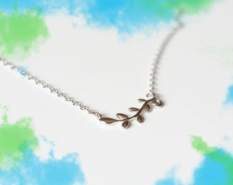 Beautiful leaf necklace-olive branch jewelry-standard silver necklace- leaf necklace-gift necklace-leaf pendant-girl's gift