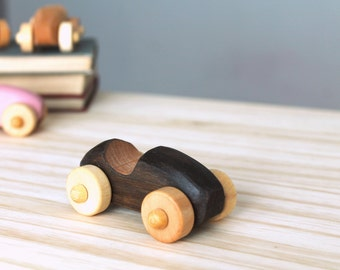 Wooden car, wooden toy, little black car