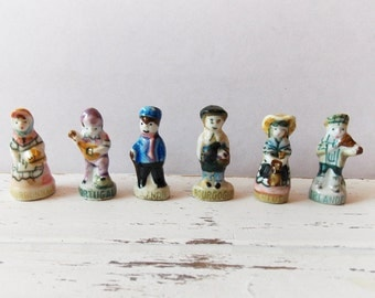 Lot of 6 Miniature Feves/  Ceramic Figurines from Paris Flea Market