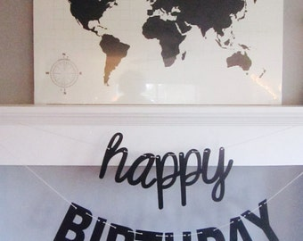 Happy Birthday Banner, Trendy Birthday, Contemporary Design, Cursive and Blocky letters, Black and White, Cursive Banner, Photo Prop