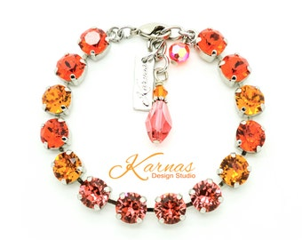 ORANGE SUGAR 8mm or 39ss Crystal Chaton Bracelet Made With Swarovski Stones *Pick Your Finish *Karnas Design Studio *Free Shipping