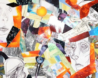 Bold Whimsical Collage & Pen Illustration of Creative Process Colourful Abstract Art Weird Busy Multi-coloured Portraits Original Small Sun