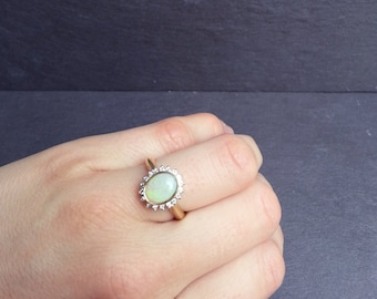 Opal Engagement Ring, Diamond Halo Engagement Ring, October Birthstone Ring