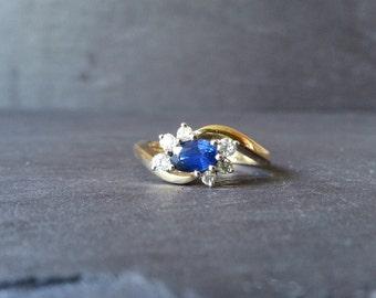 Sapphire Engagment Ring, Twist Sapphire Diamond Halo Ring, Sapphire Engagement Ring, Gold Sapphire & Diamond Ring, Vintage Wedding Jewelry