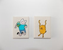ADVENTURE TIME - Finn and Jake - minimalist silhouette embroidered on canvas. 6x8cm / 2x3 inches