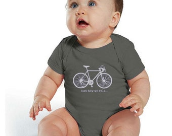 Just How We Roll - Baby One Piece - Bicycle - Bike - Cycling - Screen Printed Baby Bodysuit