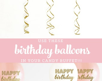 Birthday Balloons Happy Birthday Balloons Balloons Pink and Gold Balloons Balloons 1st Birthday Balloons (EB3110BIR) - SET of 3 Balloons
