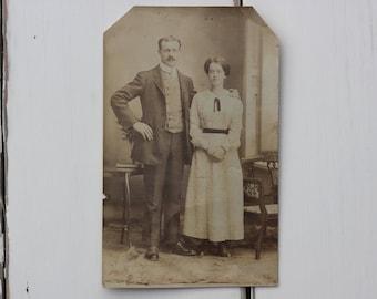 Uncle Will, vintage couple, photo c1910s, Edwardian vernacular, vintage fashion, British photo, vintage relative, Social History (rppc/gl68)