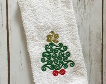 Christmas Guest Towel - Christmas Tree Embroidery - Holiday Decor - Christmas Decoration