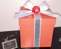 """SALE!!8""""Coral Bling Gift Box Centerpiece Accent /Wedding Shower/Baby Shower/Wedding Shower/Sweet 16/1st Birthday/Event Centerpieces"""
