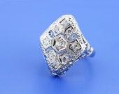 Kite-shaped 14K White Gold Diamond Ring