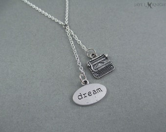 Dream Typewriter Charm Necklace - Writer Gift