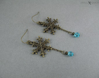 Bronze Frozen Inspired Snowflake Earrings with Your Choice of Color