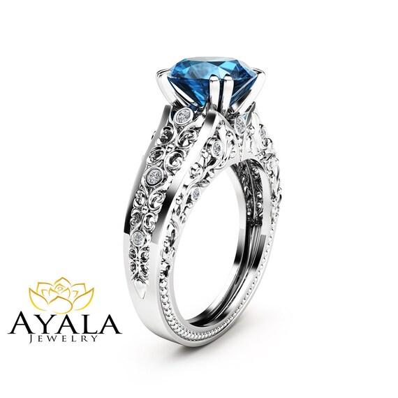 2 carat topaz engagement ring 14k white gold custom ring