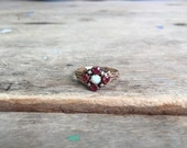 Vintage Ostby Barton 10K opal and ruby ring