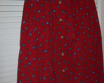 Skirt 6,  Red Pinwale Corduroy Maxi Holiday Skirt  So Neat Size 6
