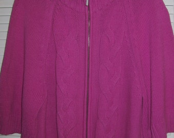 Sweater XL,  Hot Pink Sweater Cable-Knitted Jacket  Size XL by Jones NY