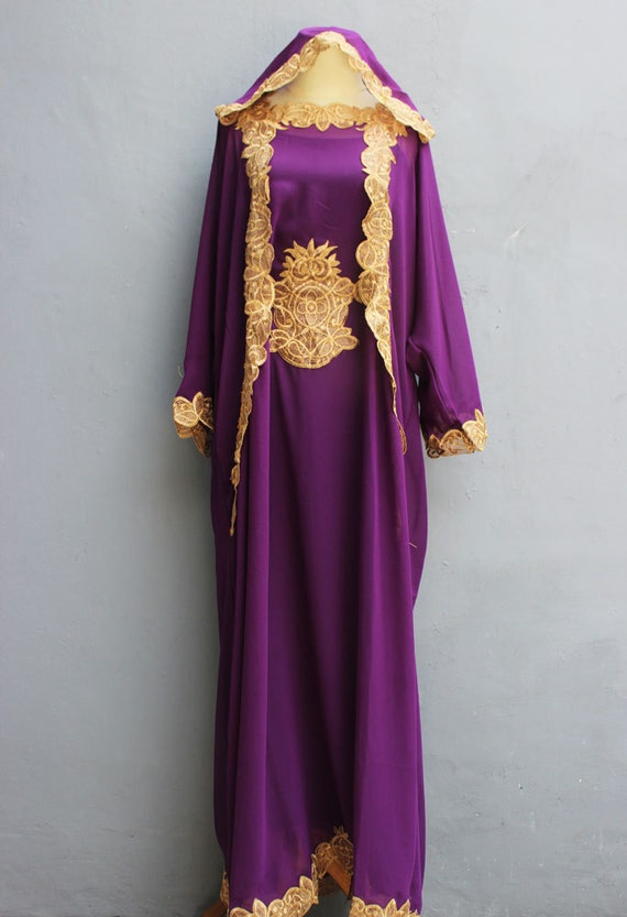Purple hoodie caftan dress with fancy gold embroidery by for Wedding dress with purple embroidery