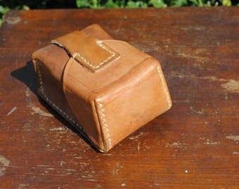 Leather military ammo case, Yugoslavian leather ammo case, vintage brown military ammo pouch, military pouch