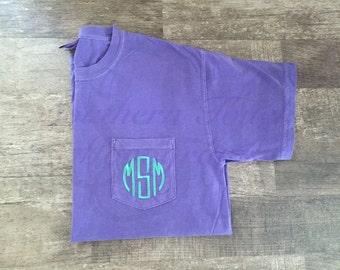 Monogrammed Short Sleeve Comfort Colors Pocket T-shirt