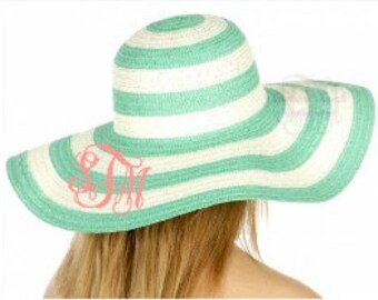 Monogrammed Striped Floppy Hat