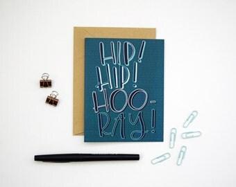 Card - Hip Hip Hooray! Blue | Congratulations, Graduation Card, New Job, New Home, Realtor Card, Client Card, Baby Card, Milestone Card