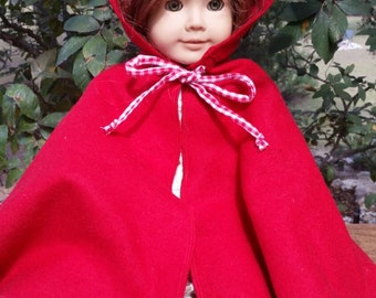 Hooded Doll Cape for 18inch Dolls inspired by American Girl Doll Felicity.....Red Riding Hood, Storybook